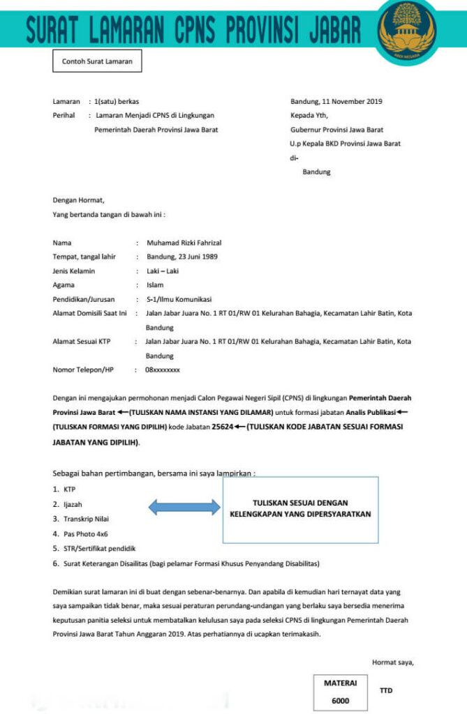 Contoh Format Surat Lamaran CPNS Provinsi Jabar