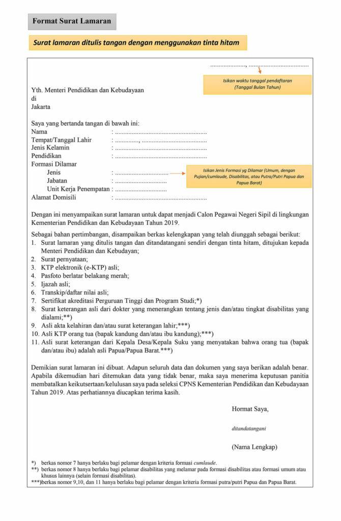 Contoh surat lamaran CPNS untuk Kemendikbud