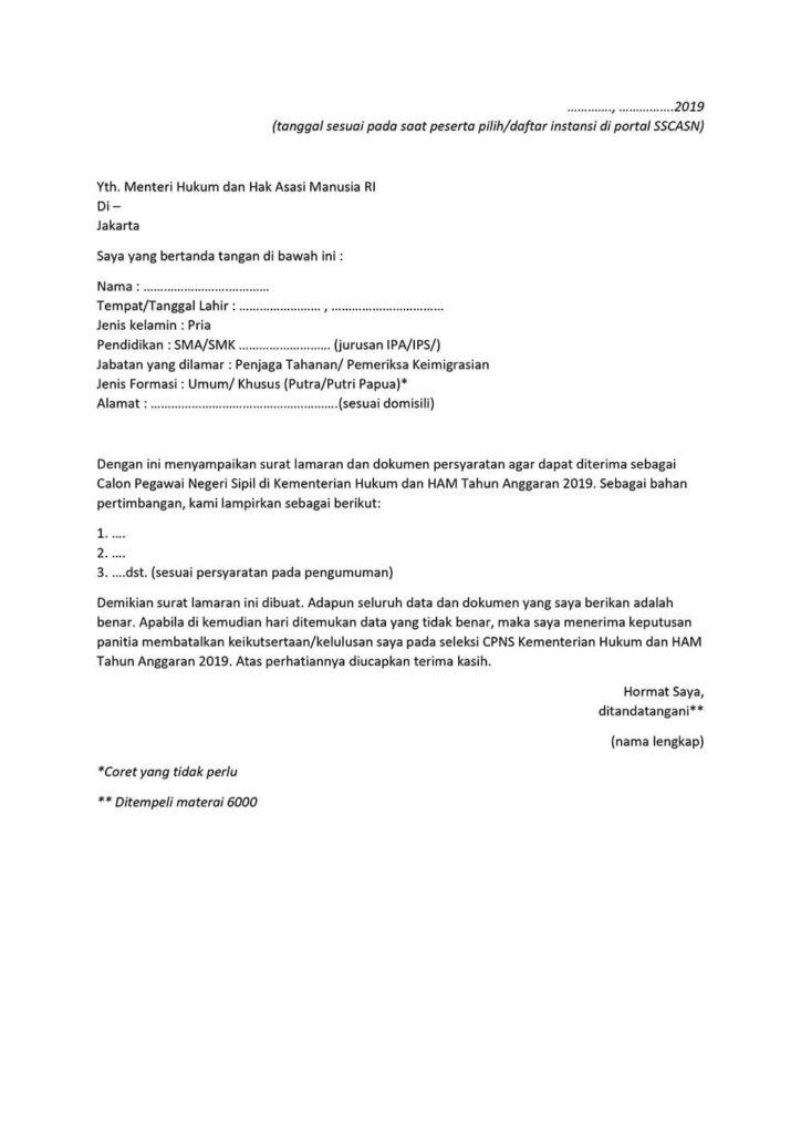 Surat Lamaran CPNS Kemenkumham