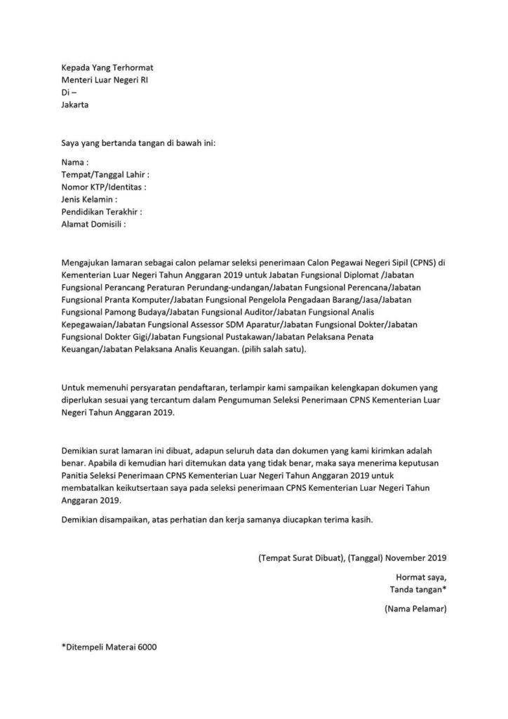 Surat Lamaran CPNS Kemenlu