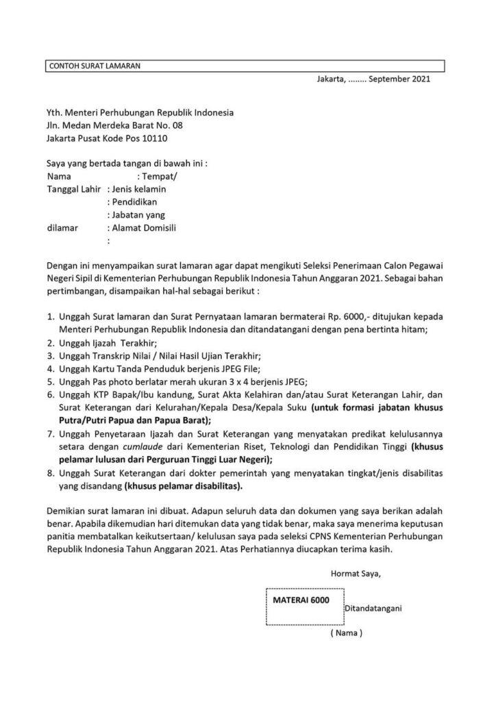 Surat Lamaran CPNS Kementerian Perhubungan