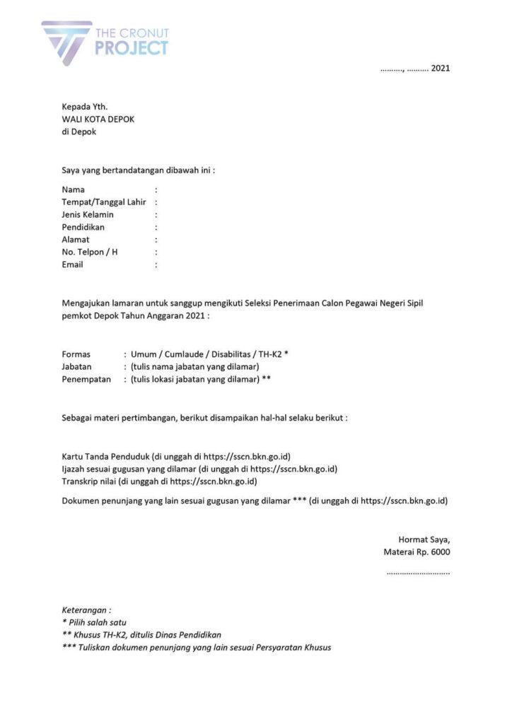 Surat Lamaran CPNS Pemkot Depok