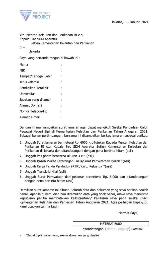 Surat Lamaran Kementerian Kelautan dan Perikanan